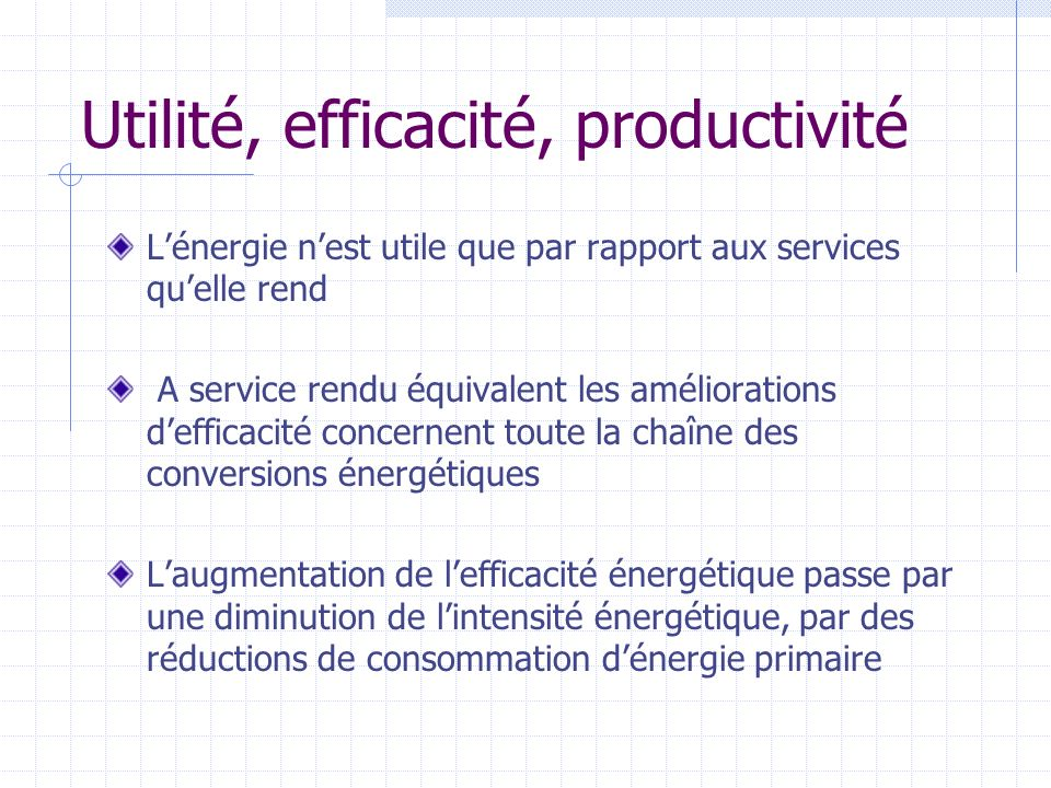 Utilité, efficacité, productivité