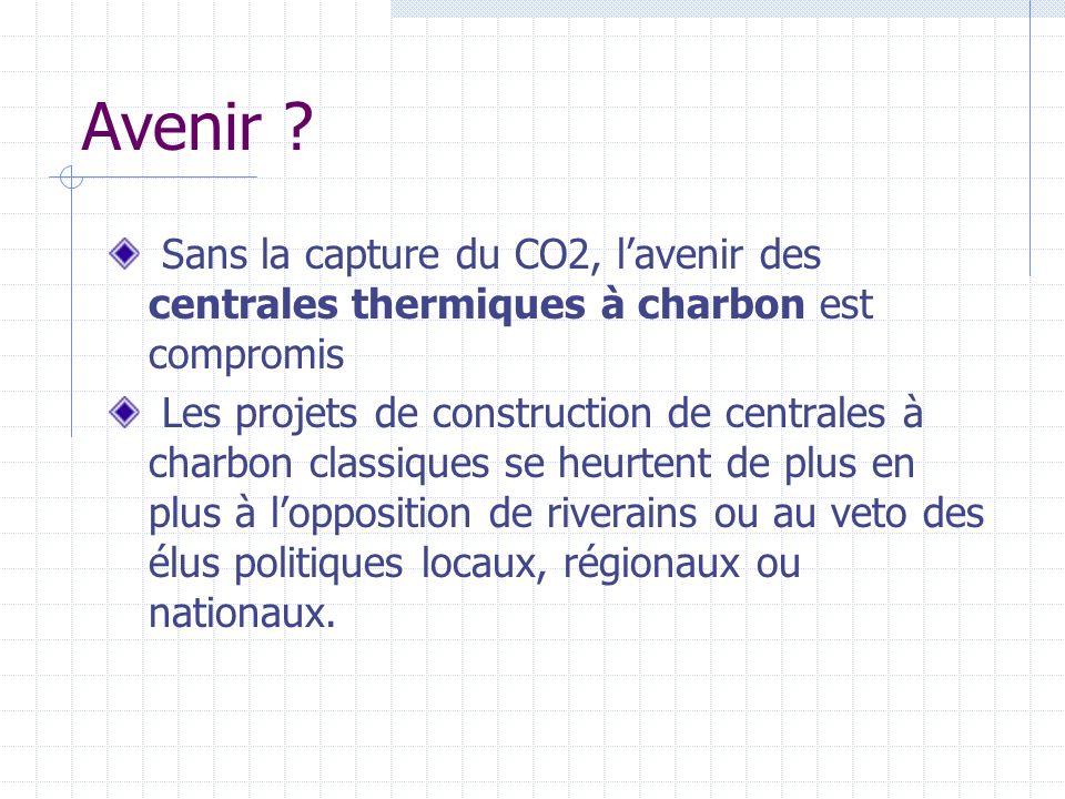 Avenir Sans la capture du CO2, l'avenir des centrales thermiques à charbon est compromis.