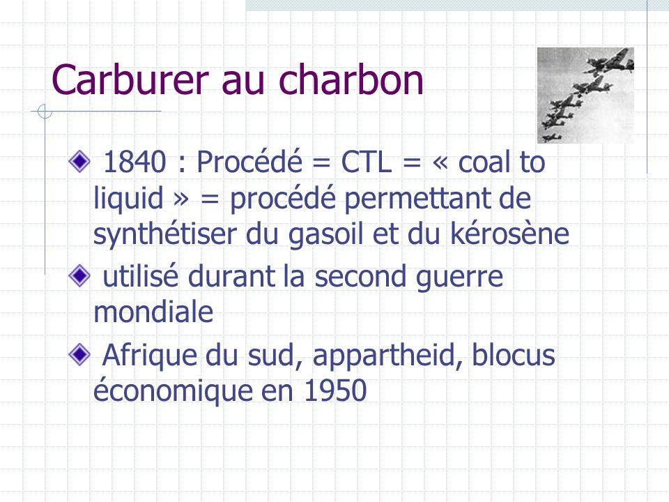 Carburer au charbon1840 : Procédé = CTL = « coal to liquid » = procédé permettant de synthétiser du gasoil et du kérosène.