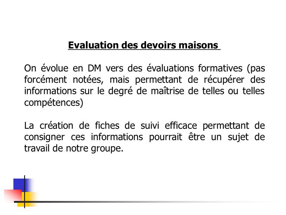 Evaluation des devoirs maisons