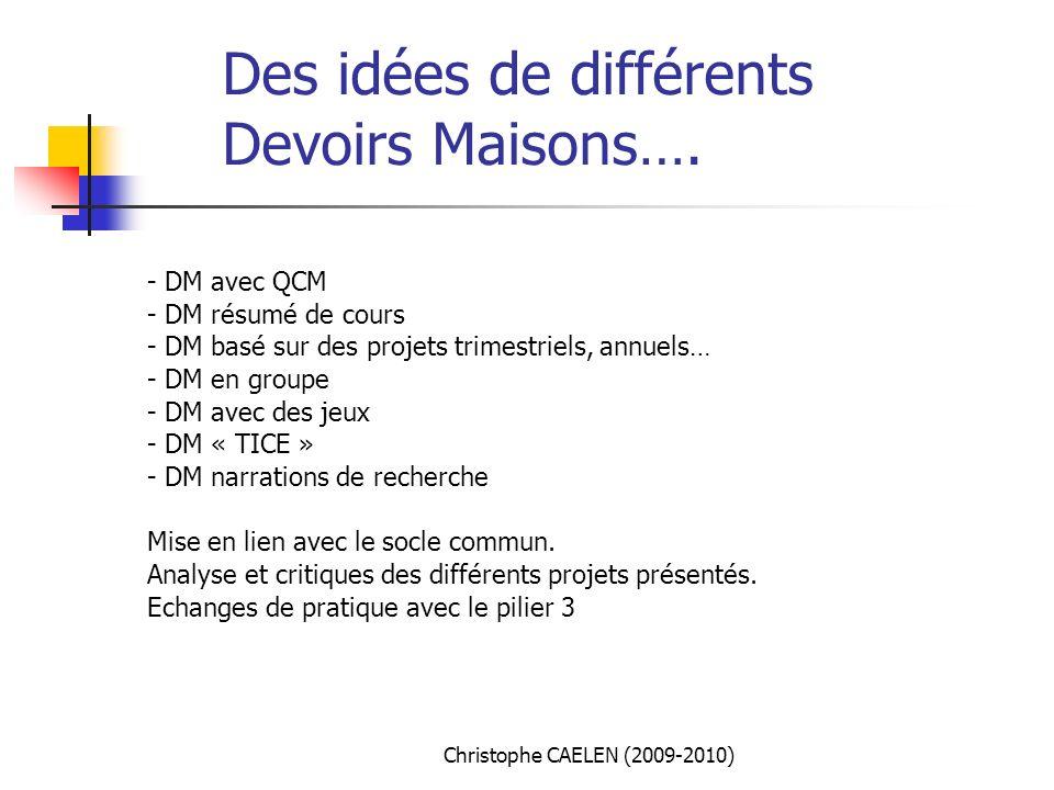 Des idées de différents Devoirs Maisons….
