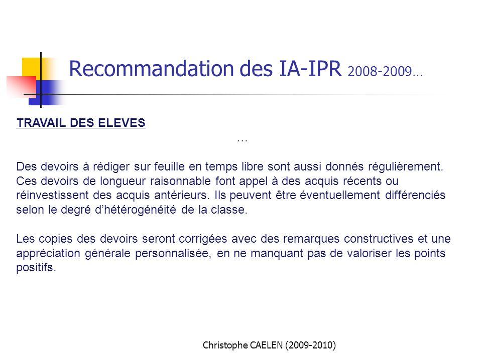 Recommandation des IA-IPR 2008-2009…