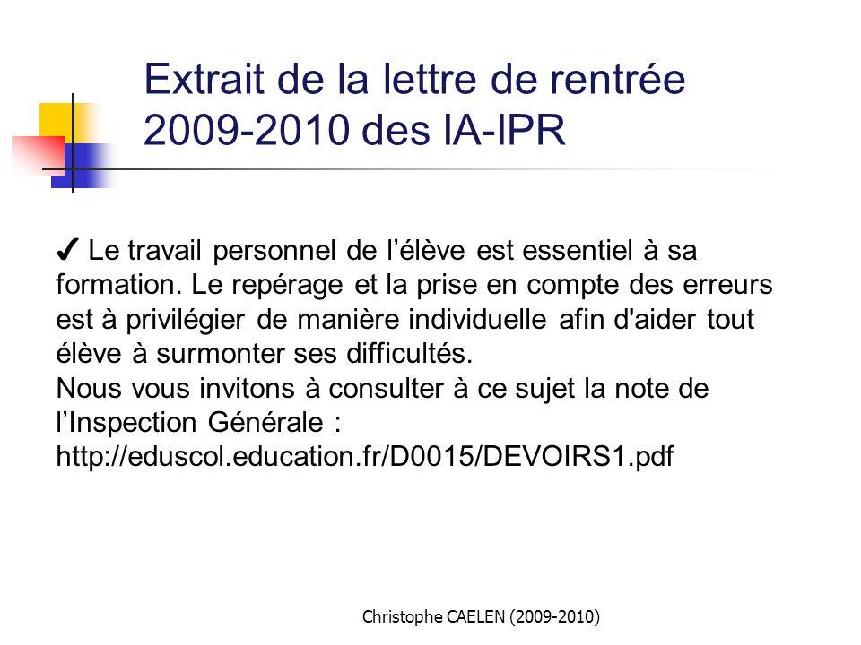 Extrait de la lettre de rentrée 2009-2010 des IA-IPR