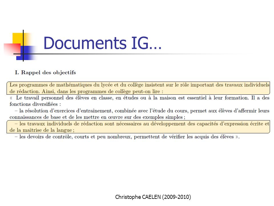 Documents IG… Christophe CAELEN ( )