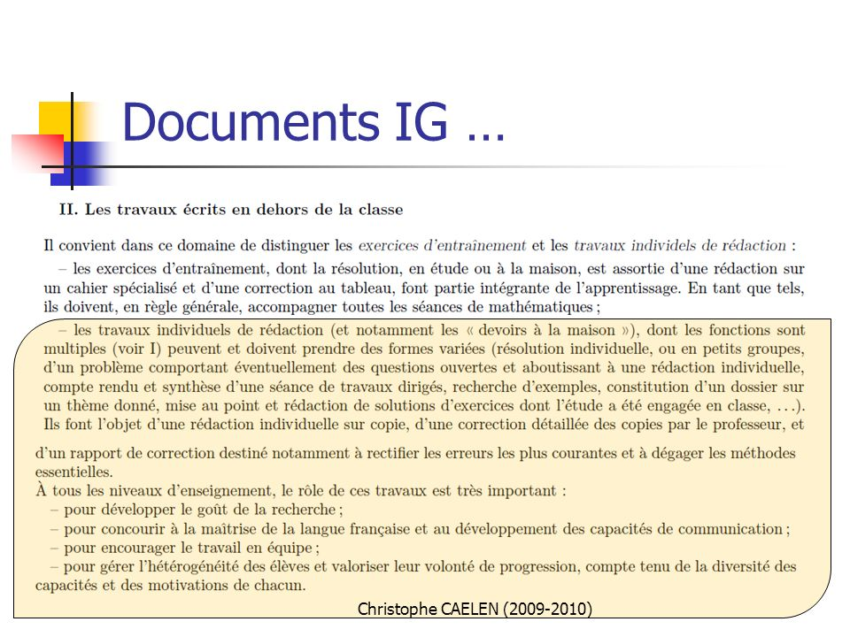 Documents IG … Christophe CAELEN (2009-2010)