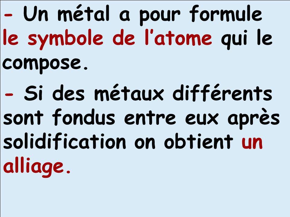 - Un métal a pour formule le symbole de l'atome qui le compose.