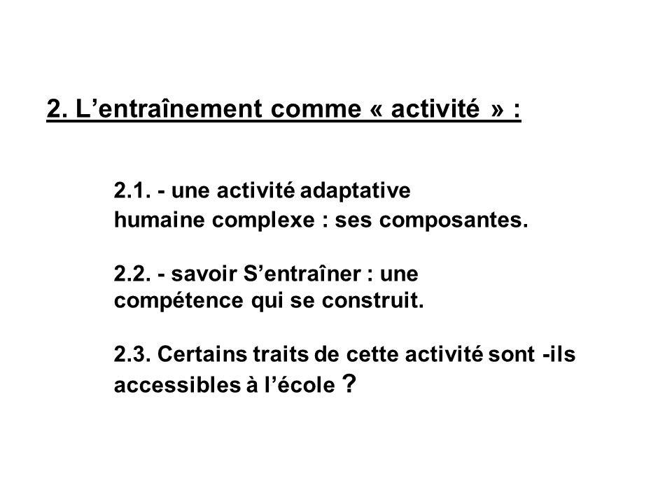 2. L'entraînement comme « activité » : 2.1.
