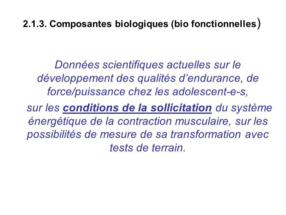 2.1.3. Composantes biologiques (bio fonctionnelles)