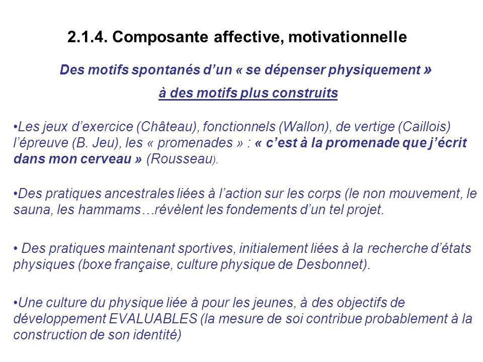 2.1.4. Composante affective, motivationnelle