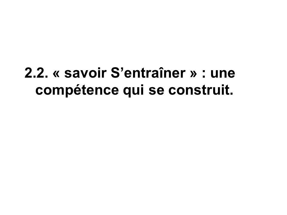 2.2. « savoir S'entraîner » : une compétence qui se construit.