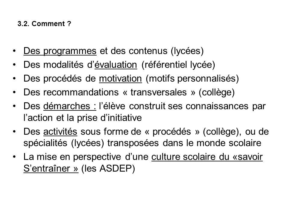 Des programmes et des contenus (lycées)