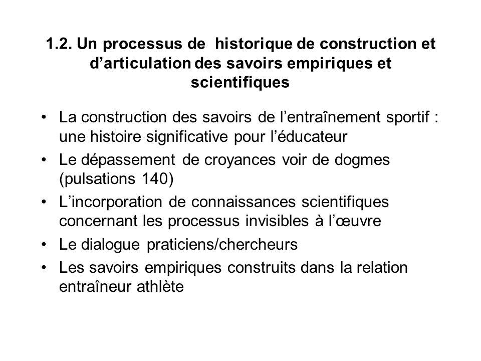 1.2. Un processus de historique de construction et d'articulation des savoirs empiriques et scientifiques