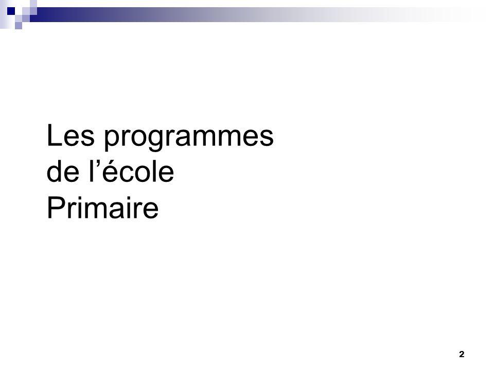 Les programmes de l'école Primaire
