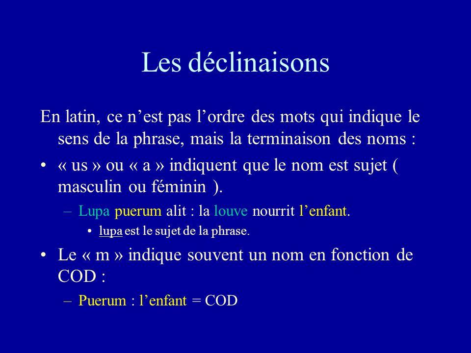 Les déclinaisons En latin, ce n'est pas l'ordre des mots qui indique le sens de la phrase, mais la terminaison des noms :
