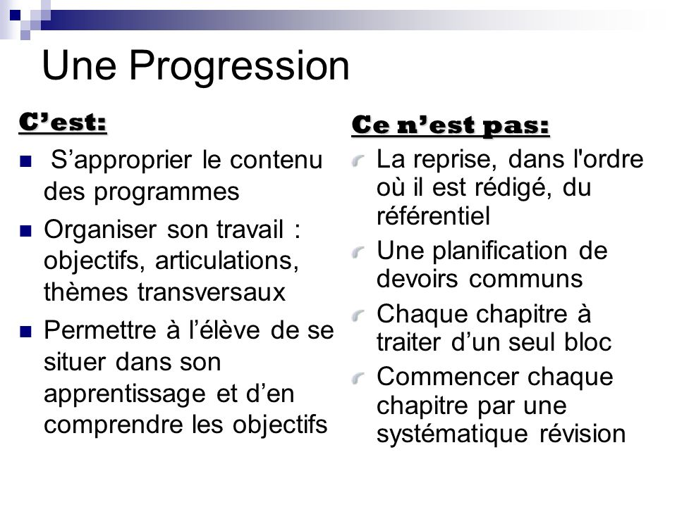 Une Progression C'est: Ce n'est pas:
