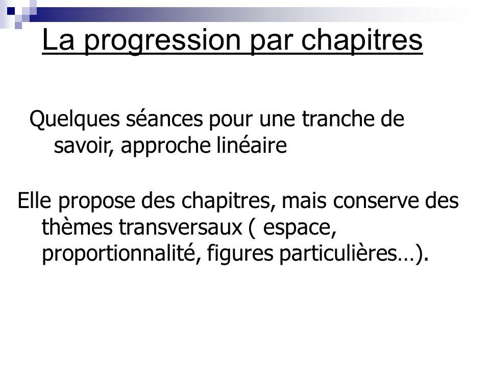 La progression par chapitres