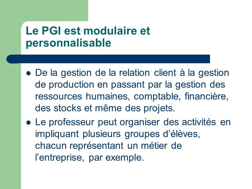 Le PGI est modulaire et personnalisable