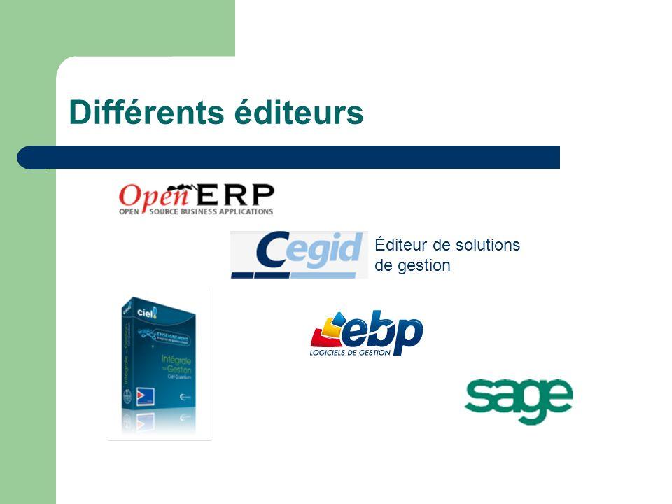 Différents éditeurs Éditeur de solutions de gestion Des exemples