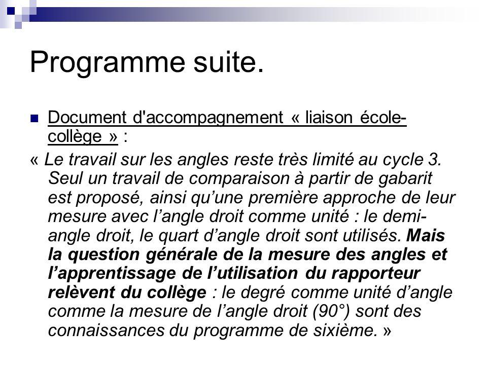 Programme suite. Document d accompagnement « liaison école-collège » :