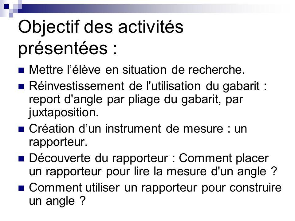 Objectif des activités présentées :
