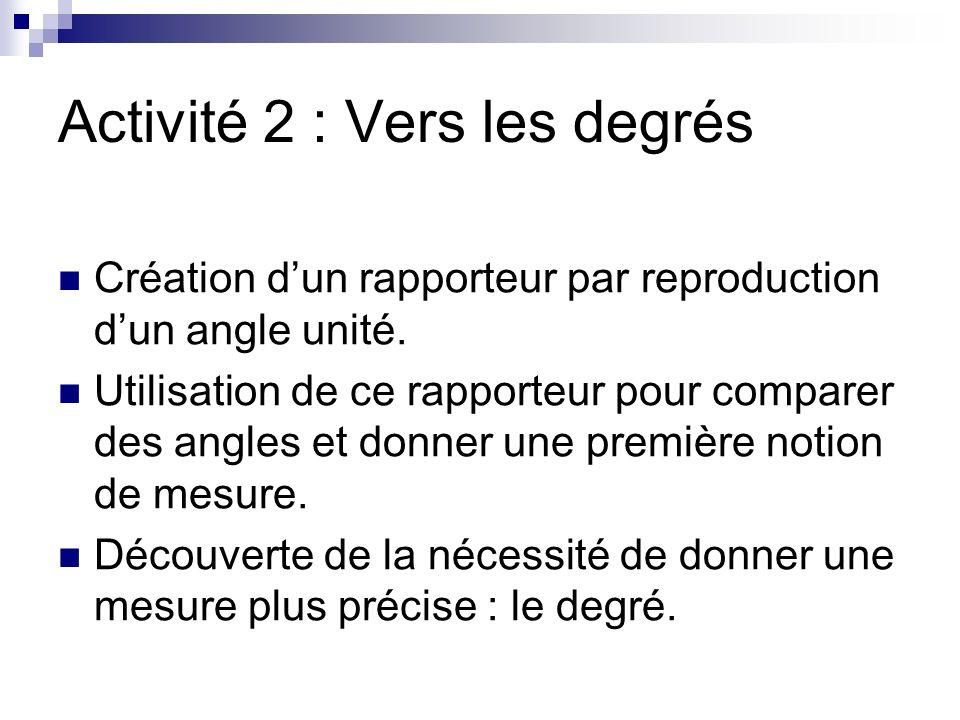 Activité 2 : Vers les degrés