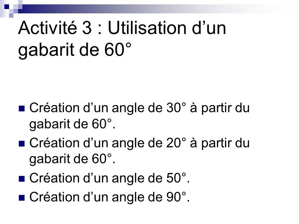 Activité 3 : Utilisation d'un gabarit de 60°