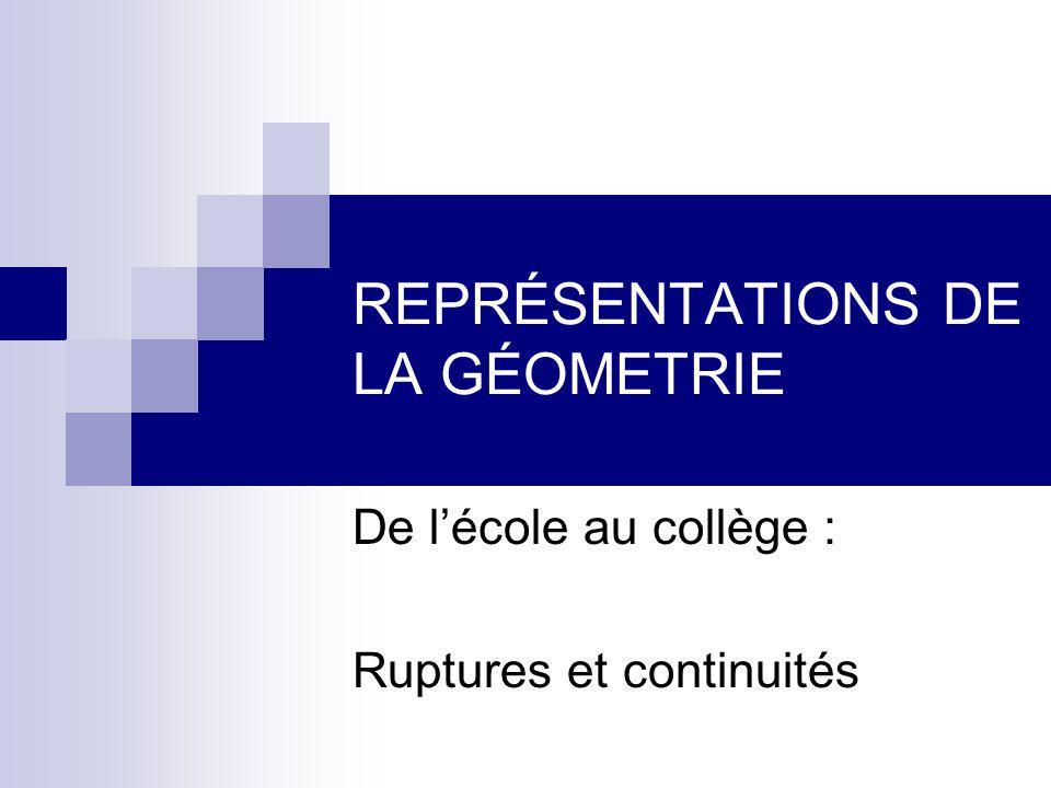 REPRÉSENTATIONS DE LA GÉOMETRIE