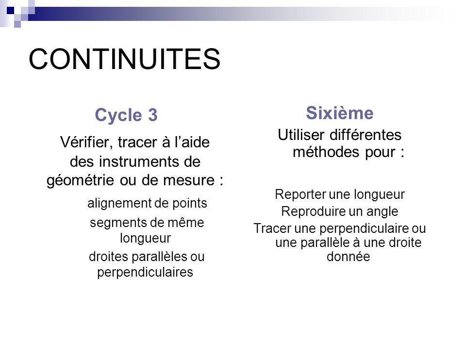 CONTINUITES Cycle 3. Vérifier, tracer à l'aide des instruments de géométrie ou de mesure : alignement de points.