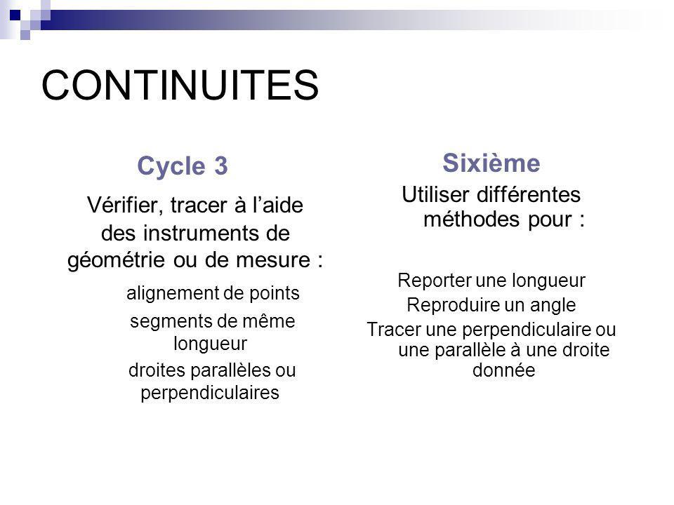 CONTINUITESCycle 3. Vérifier, tracer à l'aide des instruments de géométrie ou de mesure : alignement de points.