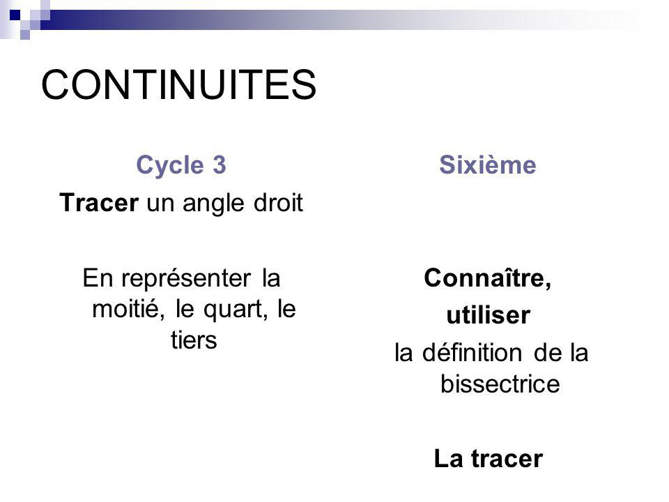 CONTINUITES Cycle 3 Tracer un angle droit