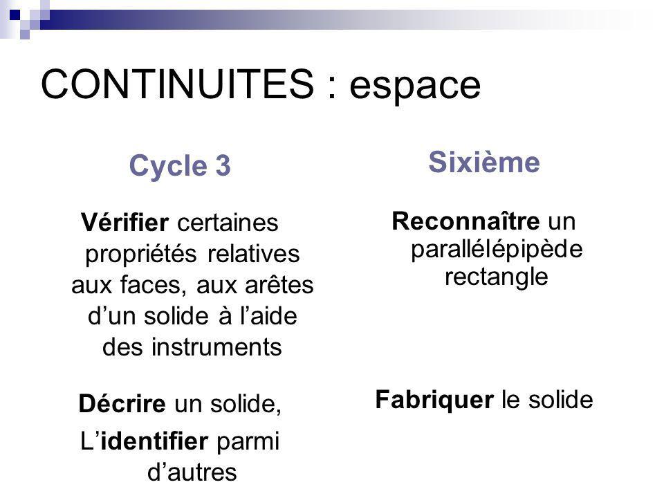 CONTINUITES : espace Cycle 3 Sixième
