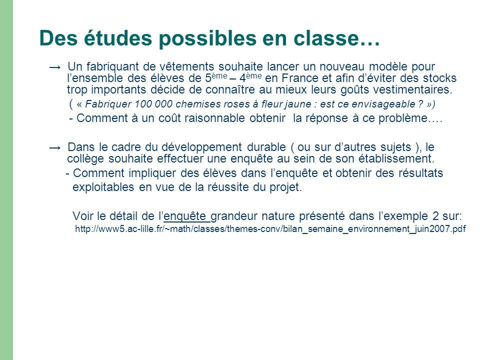 Des études possibles en classe…