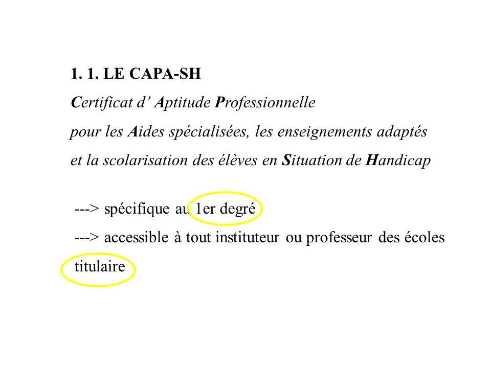 1. 1. LE CAPA-SH Certificat d' Aptitude Professionnelle. pour les Aides spécialisées, les enseignements adaptés.