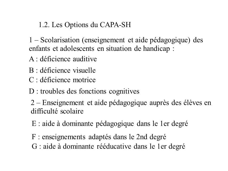 1.2. Les Options du CAPA-SH 1 – Scolarisation (enseignement et aide pédagogique) des enfants et adolescents en situation de handicap :
