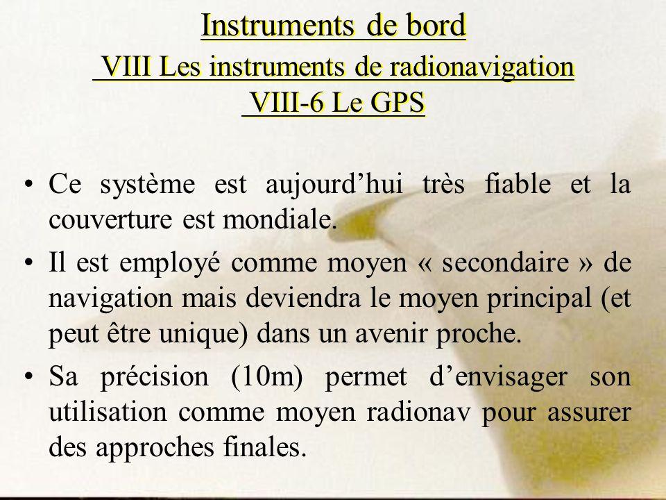 Instruments de bord VIII Les instruments de radionavigation VIII-6 Le GPS
