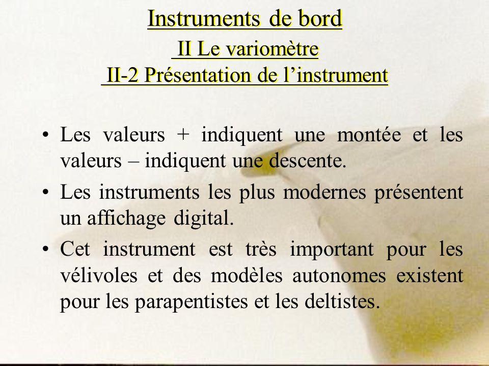 Instruments de bord II Le variomètre II-2 Présentation de l'instrument