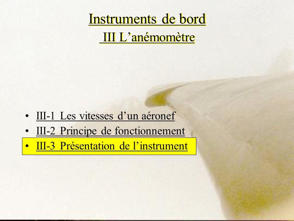Instruments de bord III L'anémomètre
