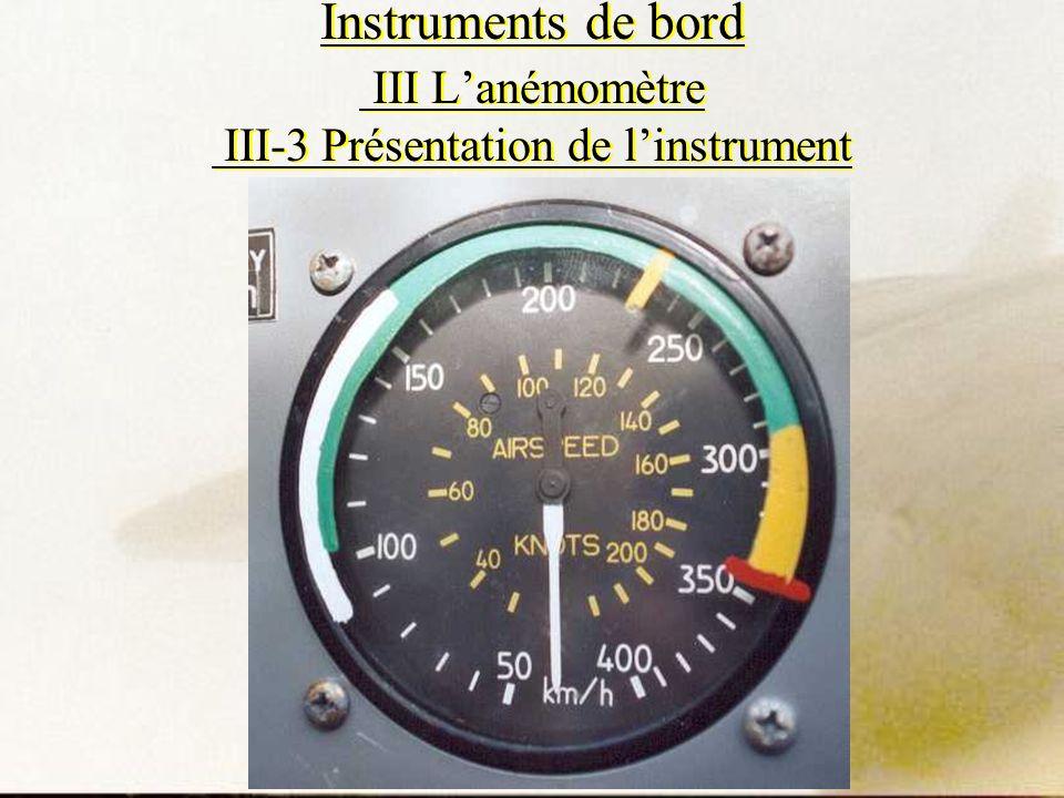 Instruments de bord III L'anémomètre III-3 Présentation de l'instrument