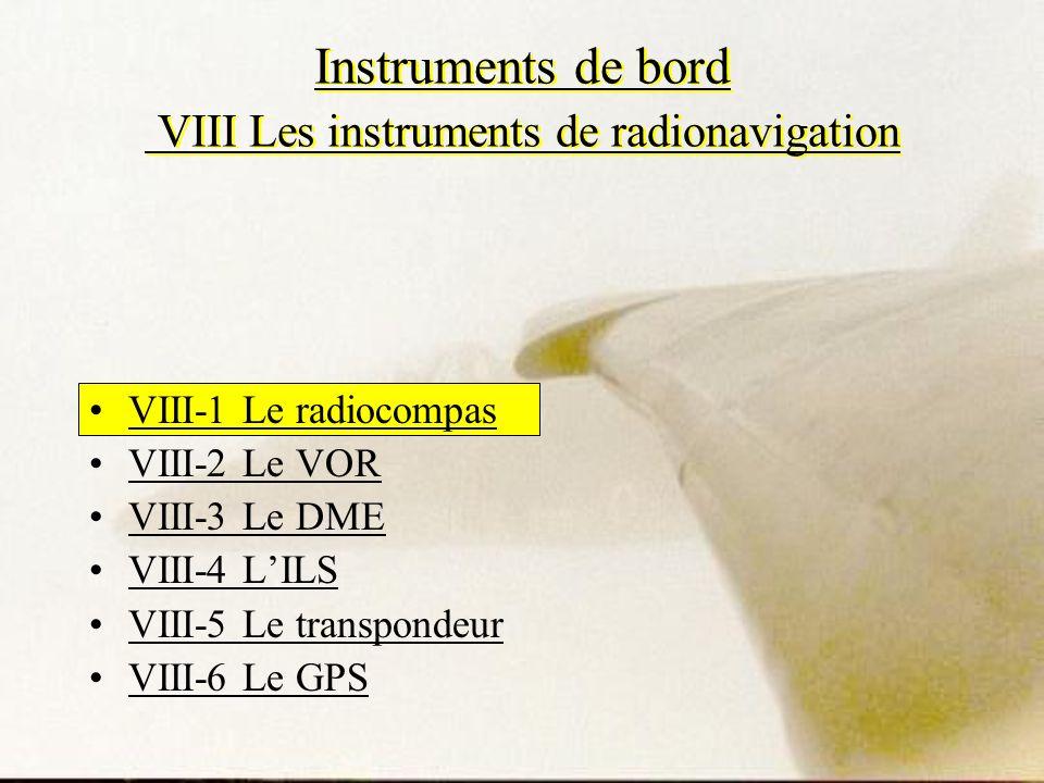 Instruments de bord VIII Les instruments de radionavigation