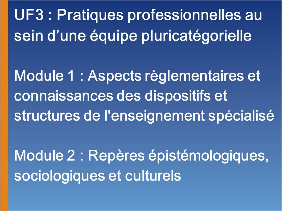 UF3 : Pratiques professionnelles au sein d'une équipe pluricatégorielle