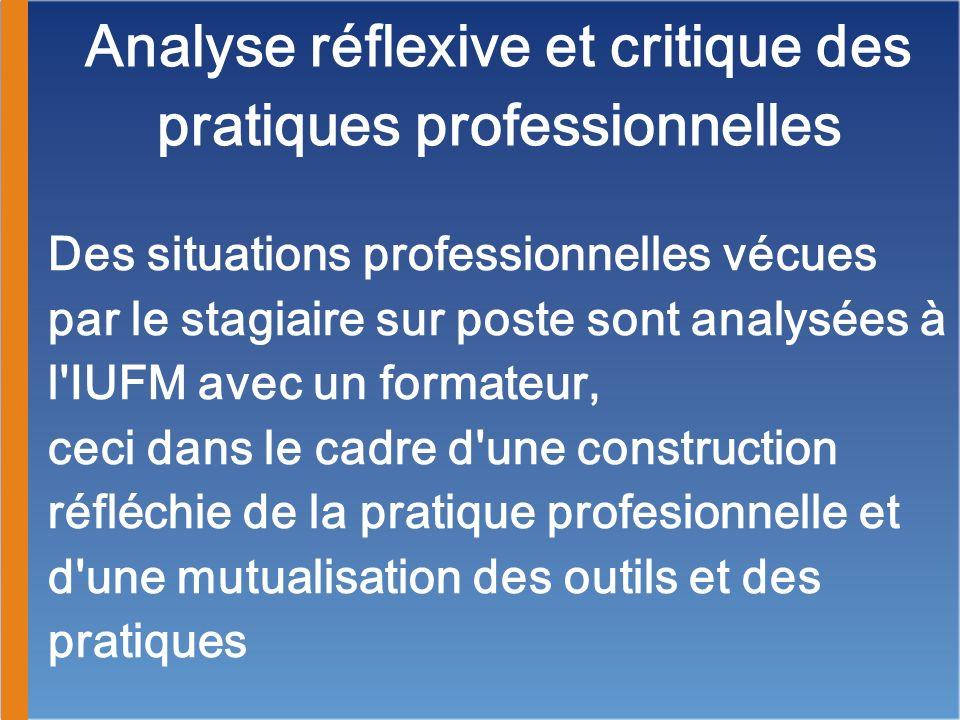 Analyse réflexive et critique des pratiques professionnelles