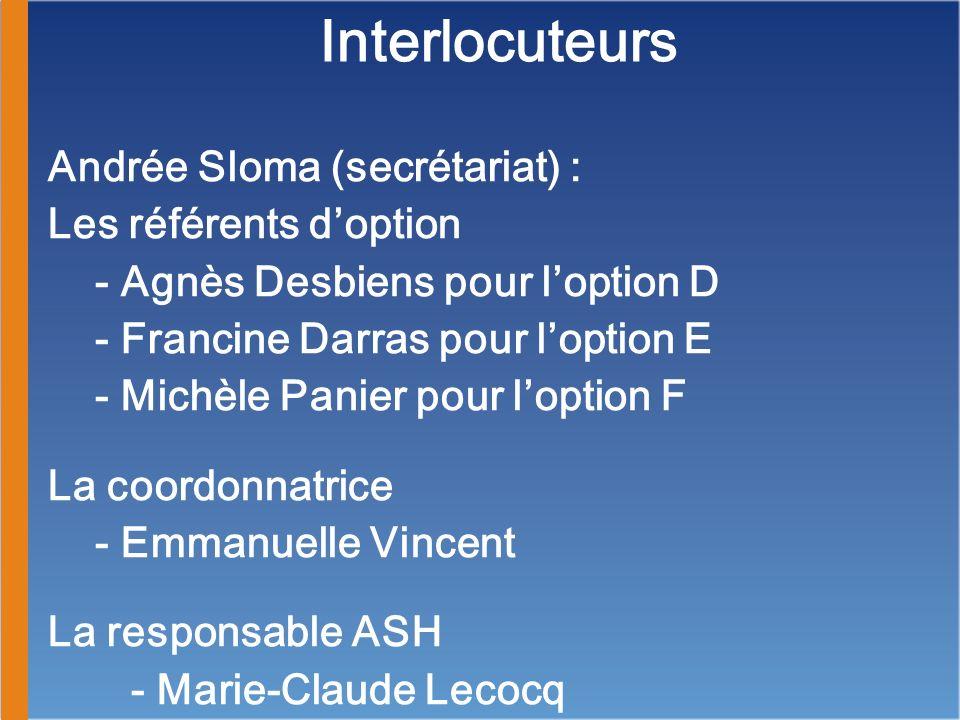 Interlocuteurs Andrée Sloma (secrétariat) : Les référents d'option