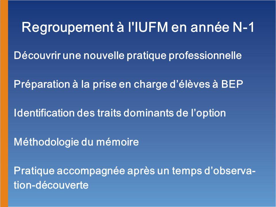 Regroupement à l IUFM en année N-1