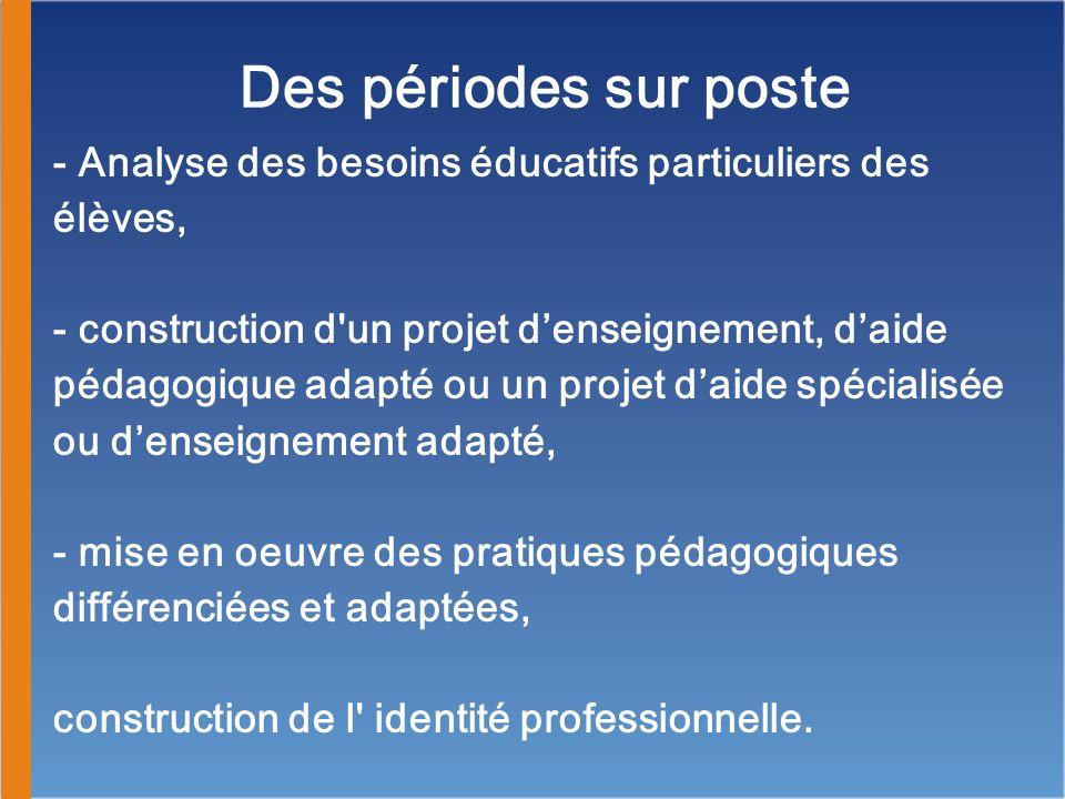 - Analyse des besoins éducatifs particuliers des élèves, - construction d un projet d'enseignement, d'aide pédagogique adapté ou un projet d'aide spécialisée ou d'enseignement adapté, - mise en oeuvre des pratiques pédagogiques différenciées et adaptées, construction de l identité professionnelle.