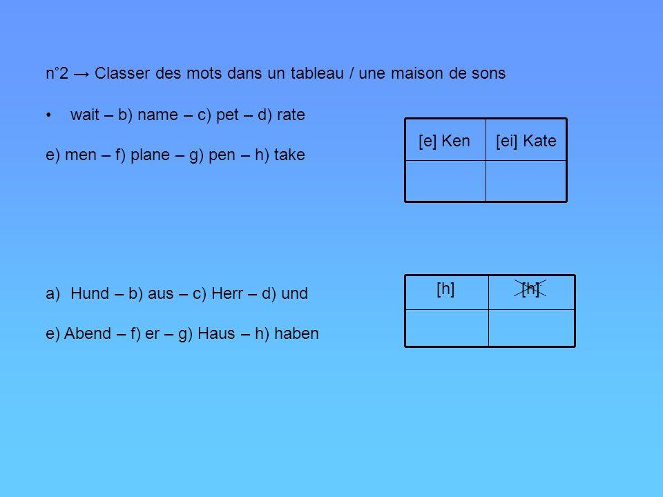 n°2 → Classer des mots dans un tableau / une maison de sons