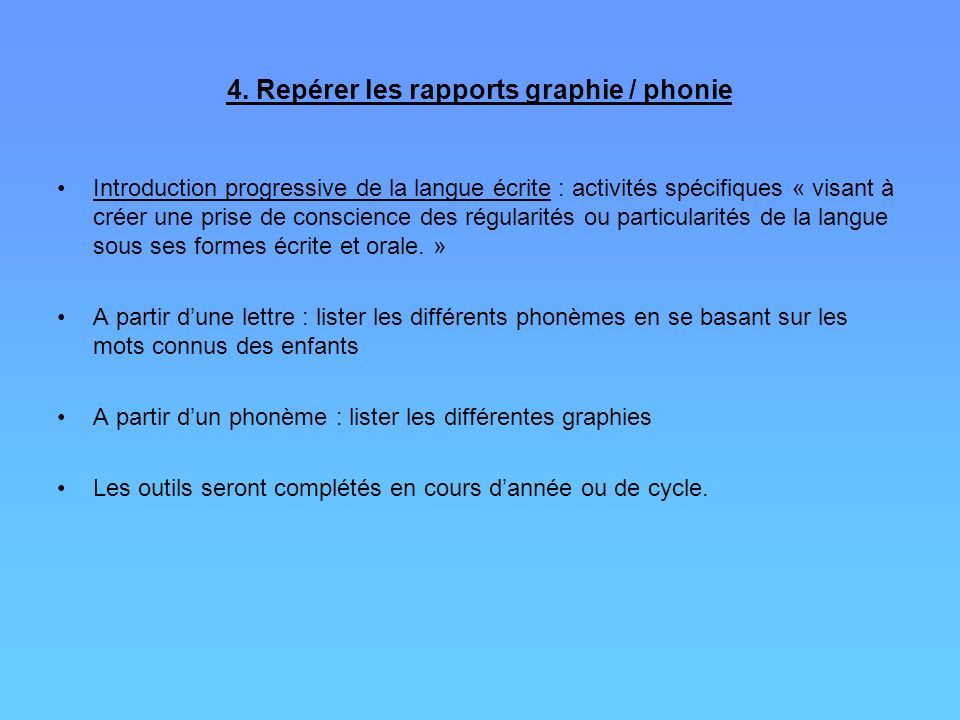 4. Repérer les rapports graphie / phonie