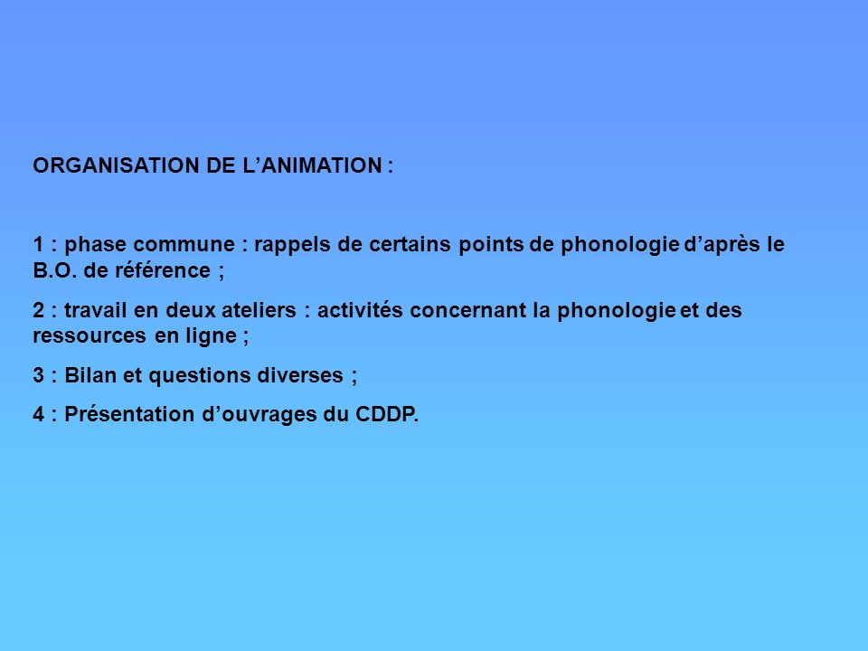 ORGANISATION DE L'ANIMATION :