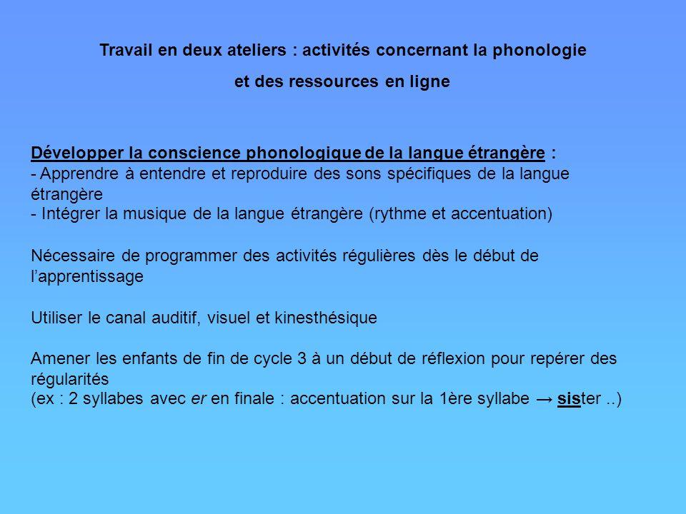 Travail en deux ateliers : activités concernant la phonologie