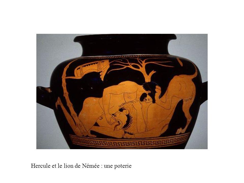 Hercule et le lion de Némée : une poterie