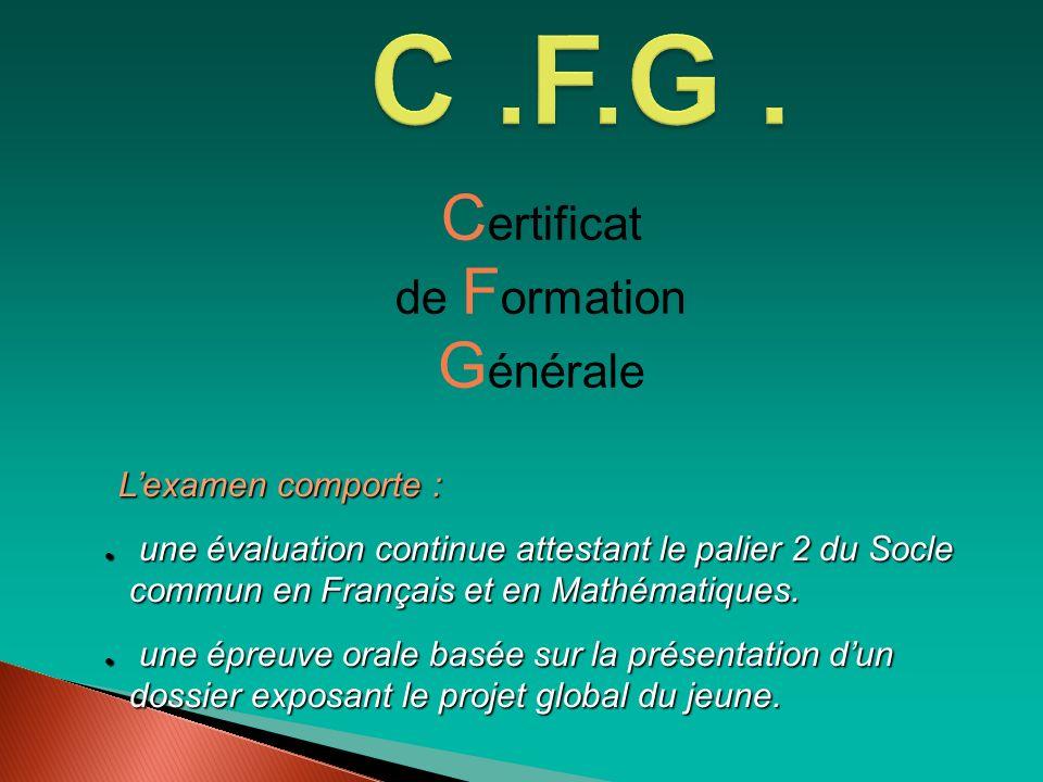 C .F.G . Certificat Générale de Formation L'examen comporte :